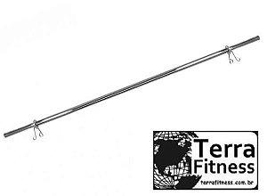 "barra maciça cromada 180cm ""reta ""+ 2 presilhas - Terra Fitness"