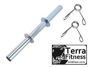 Barra oca 40cm cromada + 2 presilhas - Terra Fitness
