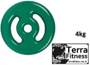 Anilha Emborrachada em Pvc Verde 4Kg - Terra Fitness