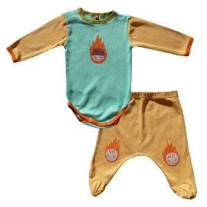 Conjunto Calça Saruel Amarela e Body para Bebê