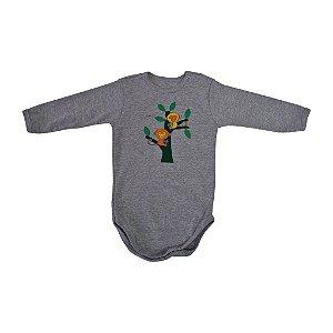 Body em Malha Cinza Macaco Manga Longa para Bebê