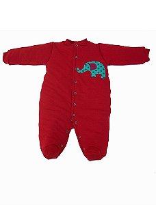 Macacão Esquimó Vermelho Elefante para Bebê