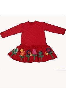 Vestido em Malha Manga Longa Vermelho