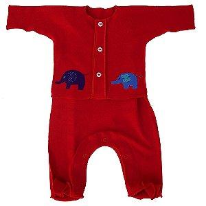 Saída Maternidade Vermelho Elefantes para Bebê Unissex