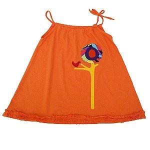 Vestido em Malha Laranja para Meninas