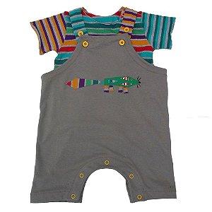 Conjunto Salopete e Camiseta Listrada Unissex