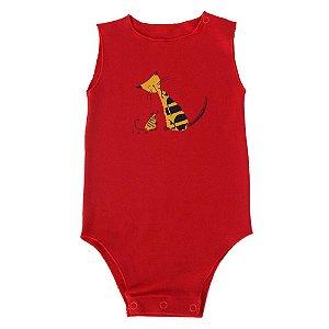 Body Cavado Vermelho para Bebê Unissex