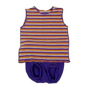 Conjunto Tapa Fralda e Camiseta Cavada Listrada