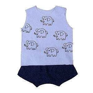 Conjunto Shorts e Regata Branca para Bebê