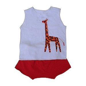 Conjunto Shorts Rosa e Regata Branca para Bebê