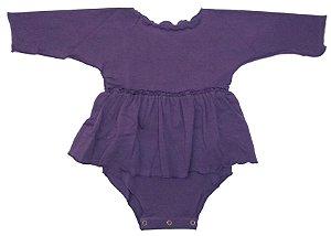 Body Bata Manga Longa Roxo para Bebê