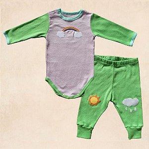 Conjunto Calça Legging Verde e Body  Lilás para Bebê