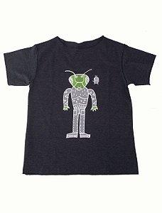 Camiseta Manga Curta em Malha Preta para Meninos
