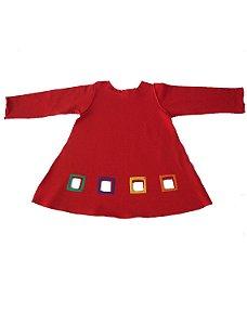 Vestido Manga Longa Vermelho Bbmoderno