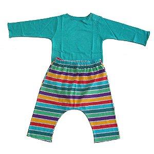 Conjunto Saruel e Body Verde para Bebê