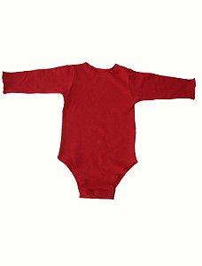 Body Manga Longa Vermelho para Bebê