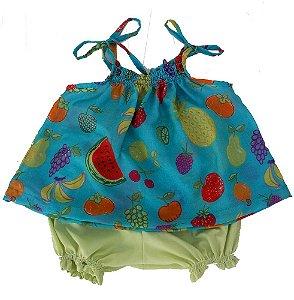 Conjunto para Bebê Menina Azul Frutas Bbmoderno