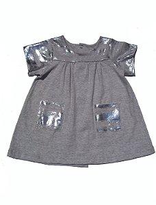 Vestido Festa Prata para Bebê