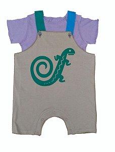 Conjunto Salopete Cinza e Camiseta para Bebê