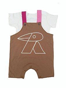 Conjunto de Salopete Caqui e Camiseta para Bebê
