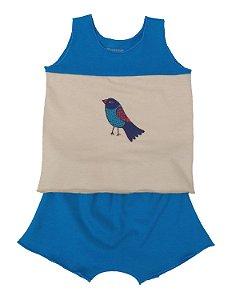 Conjunto Regata e Shorts Azul para Bebê