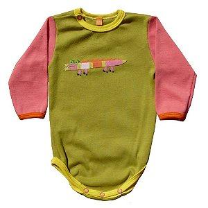 Body em Malha Verde Jacaré para Bebê Feminino