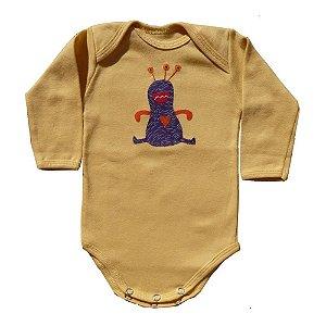 Body em Malha Amarela Et para Bebê Unissex