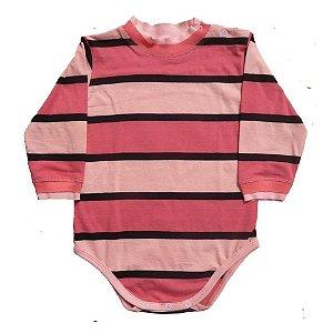 Body em Malha Listrada Rosa e Preta para Bebê Feminino