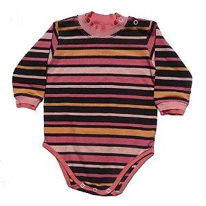 Body em Malha Listrada Rosa e Preto para Bebê Feminino