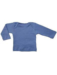Camiseta Manga Longa em Malha Básica Azul para Bebê Unissex
