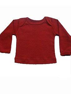 Camiseta Manga Longa em Malha Básica Vermelha para Bebê Unissex