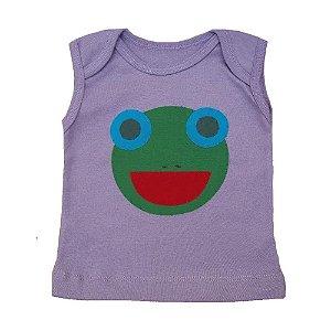 Camiseta Cavada Bordada Lilás para bebê