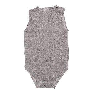 Body Regata em Malha Mescla Cinza para Bebê