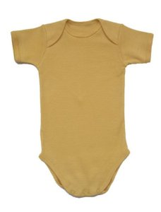 Body Manga Curta Básico em Malha Amarela para Bebê
