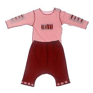 Conjunto de Body e Calça Saruel Vermelha para Bebê