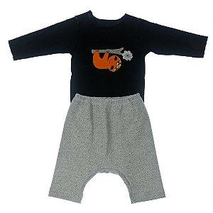 Conjunto Body Manga Longa e Calça Saruel Mescla para Bebê
