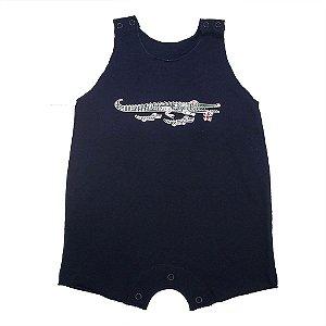 Macacão Regata em Malha Marinho para Bebê Moderno