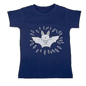 Camiseta Manga Curta em Malha Marinho para Meninos