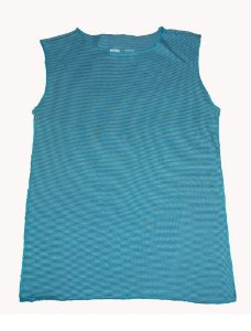 Camiseta Cavada Listrada Turquesa Bbmoderno