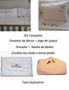 Kit Completo Protetor, Lençol, Trocador, Jogo de Banho (Tema a escolher)