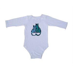 Body Branco Manga Longa para bebê Gatinhos Bbmoderno