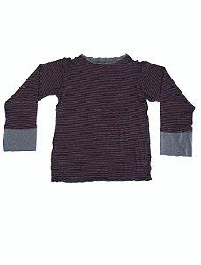 Camiseta Manga Longa Listrado Vinho para Meninos