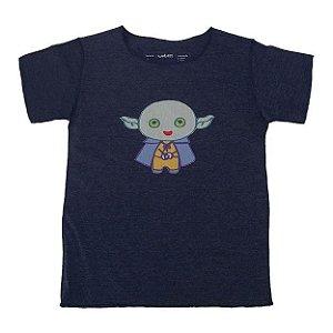 Camiseta Manga Curta em Malha Marinho Mescla Bbmoderno