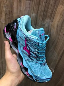 Tênis Mizuno Wave Prophecy 7 Azul com Rosa Importado - Pronta Entrega