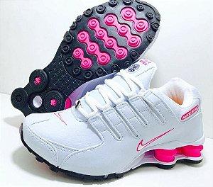 Tênis Nike Shox NZ 4 Molas Feminino Branco com Rosa Importado - Pronta Entrega