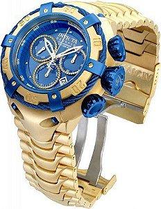 Relogio Bolt Zeus Dourado Azul Prova D'agua Funcional Importado Garantia de 1 ano- Pronta Entrega