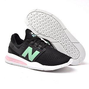 Novo New Balance 247 Feminino Preto com Branco - Envio Imediato