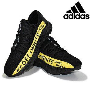 Tênis Adidas Off White Masculino Importado Preto com Amarelo Pronta Entrega