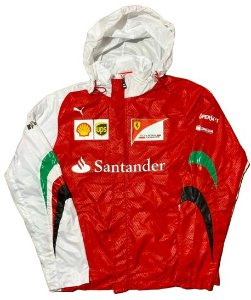 Corta Vento Ferrari Santander Jaqueta Impermeavel Vermelha com Branca Importada