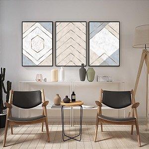 Kit De Quadros Decorativos Linhas Abstratas Contemporâneo Modero Quarto Sala